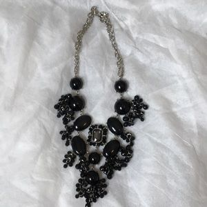 Women's black and silver necklace